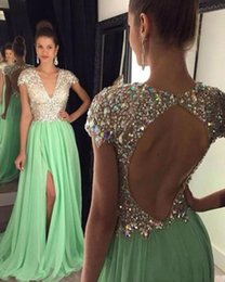 Wholesale Sexy Women Luxury Rhinestone - 2017 Mint Green Prom Dress Luxury Backless Rhinestone Women Wear Special Occasion Dress Party Gown Custom Made Plus Size