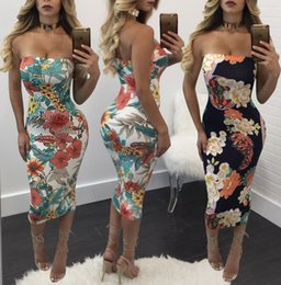 Wholesale Floral Bodycon Midi Dress - Sexy Strapless Bandeau Flora Printed Bodycon Bandage Tight Sleeveless Pinafore Midi Dress Evening Cocktail Party Club Dresses Clubwear