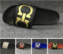 Wholesale Red Top Hotel - New mens slide sandals TOP quality Fashion Slippers flip flops for men summer outdoor beach sandals slippers
