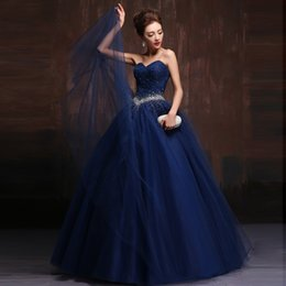 Wholesale Long Puffy Corset Dresses - Sparkly Crystal Dark Navy Prom Dresses Long Corset Puffy Evening Party Dress Beading Tulle Dark Red Semi Formal Gowns Engagement Gown Sexy
