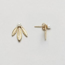 Wholesale Double Sided Clover - New Brand 18K Gold Plated Clover Combination of Pearl Pierced Earrings Puncture ears Fashion Double Sided Jewelry for women