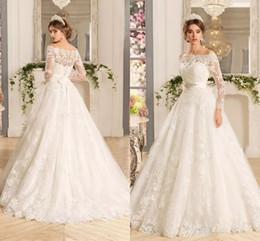 2019 anmutiges modernes brautkleider Benutzerdefinierte lange Ärmel SpitzeAppliques Brautkleider 2020 mit Perlen Sash Sweep Zug Tüll Hochzeit Brautkleider