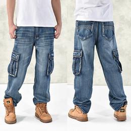 Wholesale Jeans Large Hip Hop - Wholesale-Large size 42 40-28 5XL-M Hip hop jeans men famous designer brands high quality Skateboard denim Skateboard jean man spring 2014