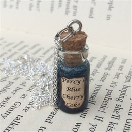 Wholesale Cherries Pendants - 12pcs lot Percy's Blue Cherry Coke Bottle Necklace Pendant inspired by Percy Jackson