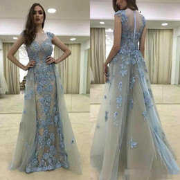 Wholesale Elie Saab Dresses Blue - Light Grey Blue Elie Saab Evening Dresses Sheer Jewel Neck Embroidery With Detachable Skirts Formal Occasion Party Prom Gown Custom Made