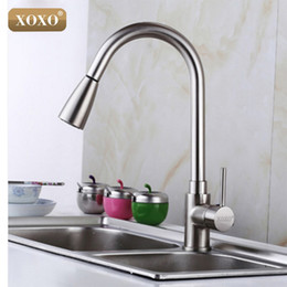 Wholesale Spray Chrome Plated - Wholesale- XOXO Deluxe Pull out Spray Kitchen Faucet Mixer Tap,Pullout Sprayer Kitchen Faucet SATIN NICKEL BRUSHED brass material 83011S