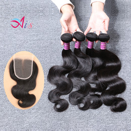 Wholesale Cheap Middle Part Lace Closure - Cheap Brazilian Body Wave 4Bundles Hair Weaves Natural 1B with a 4X4 Middle Free Part Lace Closure Human Hair for Halloween Day Tangle Free