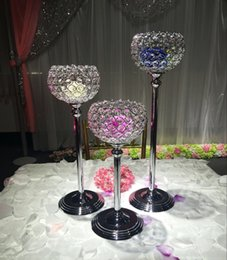 Wholesale Crystal Ball Wedding Centerpiece Wholesale - 3pcs set 15cm diameter crystal ball candle holder wedding centerpiece decoration candlestick silver plated