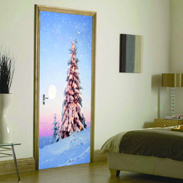 Wholesale cafe picture - 2 sheets pcs 3D Christmas Tree Door Picture DIY Snowy Scenery in Night Mural Poster Pretty Wall Sticker for Cafe Shop Home Decor