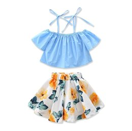Wholesale American Apparel Style - 2017 Girls Childrens Clothing Sets Summer Suspender Tops Lemon Skirts 2Pcs Set Cotton Girl Kids Apparel Boutique Enfant Clothes Outfits