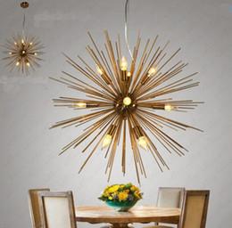 Wholesale spheres led lamp - Post-modern Gold Pendant Lights Living Room Restaurant Study led radiation sphere art Personality design pendant lamp LLFA