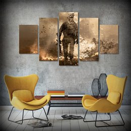 Wholesale Battlefield Figure - 5 Panels Battlefield Modern Abstract Canvas Oil Painting Print Wall Art Decor for Living Room Home Decoration Framed Unframed