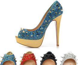 Wholesale Platform Dress Shoes For Women - Luxury rhinestone mix Spikes PeepToes platform Sexy Ladies Pumps,140mm Fashion Designer Red Bottom High Heels Shoes for Women Wedding shoes