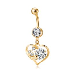 Wholesale Fashion Heart Cz Ring - Europe and America Newest Fashion Trendy Body Piercing Jewelry 18K Yellow Gold Plated AAA CZ Love Heart Angle Belly Ring for Women BR-240