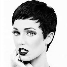 Wholesale Human Hair Top Bangs - Hot Sell Cheap Pixie Cut Human Very Short Hair Wigs With Bangs Top 8A Brazilian Human Wigs Hair For Africa Americans