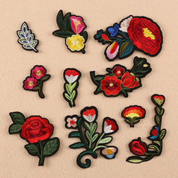 Wholesale Peony Wedding Dress - 10pcs Peony Flower Stickers Embroidered Iron On Patch For Clothing Floral Wedding Dress Jeans Jacket Patches Cheongsam Patchwork Appliqued