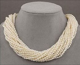 """Wholesale White Twisted Pearl Necklace - 12 strands Very beautiful AAA+ south sea white seed pearl twisted necklace 18"""""""