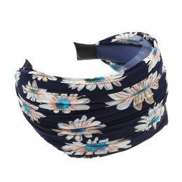 Wholesale womens wide hair bands - Woman headdress hair SYB NEW Womens Girls Cloth Wide Headband Hair Head Band Navy Blue Gift