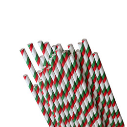 Wholesale Drinking Straws Red White - 100% Safe biograde paper straw for drink and cupcakes in green and red white stripes 90 pcs