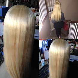Wholesale Wig White Blond Long - 613# Blond human hair lace wigs straight best brazilian full lace front human hair wigs for black white women