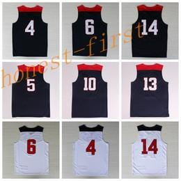 Wholesale Shirt Usa - 2014 USA Basketball Jerseys Dream Team American Shirts Uniforms #4 #5 #6 #10 #13 #14 #10 With Player Name Team Logo Navy Blue Best Quality