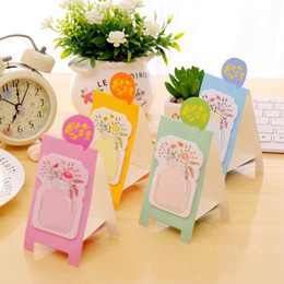 Wholesale Adhesive Memo Pad - Wholesale- 40packs lot Kawaii vase design Standing convenient Memo Sticky Pad Notes students gift prize office school Stationery supplies