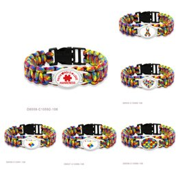 Wholesale Wholesale Autism Awareness Charm Bracelets - (10 PCS lot) Ribbon Heart Autism Mom Dad Awareness Hope Love Faith Paracord Survival Friendship Womens Girls Wax Bracelets Drop Shipping