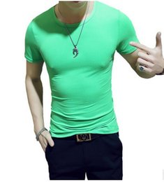 Wholesale T Shirts For Skinny Men - Superior quality Short-sleeved Cotton skinny T-shirt for Men Shirt Solid Casual Male Tops Tees Elegant Solid color All-match T-shirt