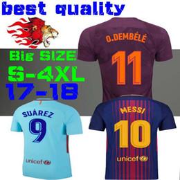 Wholesale Soccer Sports Jerseys - Thai quality 17 18 MESSI INIESTA PIQUE SUAREZ soccer jersey Dembele 2017 2018 futbol Sports shirts away blue Deulofeu third 3RD SIZE S-4XL