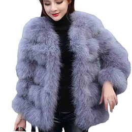 Wholesale Turkey Cover - 2017 autumn winter top clothe fur coat real ostrich wool turkey feather coat shearling women jacket elegant fashion luxury