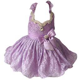 Wholesale Hot Pink Cupcakes - Hot New Little Girls Glitz Beaded Pageant Cupcake Dresses Infant Mini Short Skirts Toddler Tutu Girl Lace Dresses