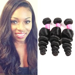 Wholesale Remi Indian Wavy Hair - Grade 6a Unprocessed Indian hair loose wave Cheap Human Hair Wet and Wavy 3Pcs Remi hair loose wave natural black color