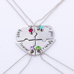 """Wholesale Friends Ever - Wholesale-4pcs set """"best friend forever and ever"""" BFF Friend Necklace Set 4 Pieces Heart Shape Puzzle Hand Stamped Friendship Jewelry"""