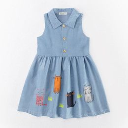 Wholesale Denim Summer Cotton Cat Girls Dresses INS Children Sleeveless Cotton Jeans Shirt Printed Floral Dress Summer Kids Clothing HH A03