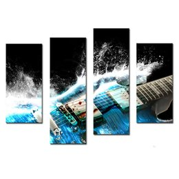 Wholesale Picture Guitars - 4 Panles Canvas Painting Guitar Paintings Wall Art Picture On Canvas with Wooden Framed Music Pictures For Home Decor as Gift