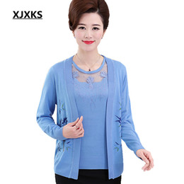 Wholesale Two Color Cardigan Sweater - Wholesale- New 2017 Cardigan women High quality open stitch solid color beading two piece sweaters round neck oversize sweater