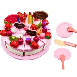 Wholesale Cutting Play Food - Pizza Party Preschool Children Wooden Kitchen Food Fruit Vegetable Cutting Kids Pretend Play House Educational Puzzle Learning Toys Sets