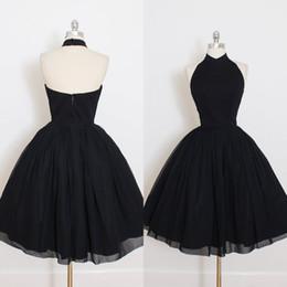 Wholesale Elegant Mini Formal Dresses - Cheap Little Black Cocktail Dresses for Women 2017 Halter Sleeveless Simple Elegant Short Party Gowns Formal Dress