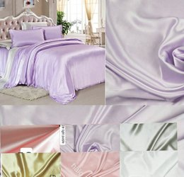 Wholesale Satin Sheet Set Free Shipping - Free Shipping wholesale 6 color wide width 280cm Pure Silk Satin Fabric for bedding set pillowcase sheet and quilt cover