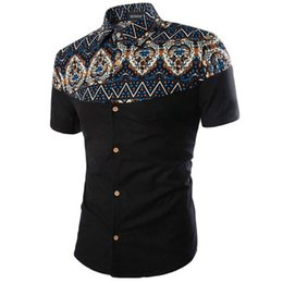 Wholesale Asian Dress Xl - Wholesale- 2017 New National Design Men Dress Shirts Short Sleeve Casual Shirt Camisa Social Chemise Homme (Asian Size)