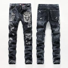 Wholesale Skulls Jean - Wholesale- European American Style men fashion jeans cotton luxury quality slim skulls brand Straight men hole jean black denim trousers