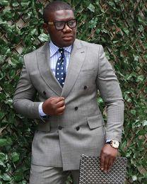 Wholesale Men Grey Dress Pants - Double Breasted Light Grey Groom Tuxedos Peak Lepal Man Blazer Prom Clothing Dress Suits (Jacket+Pants) H:479