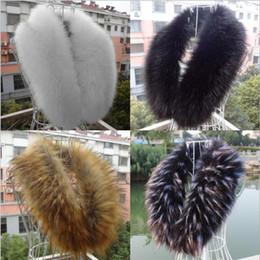 Wholesale Fashion Fur Stole - Unisex Faux Fox Fur Collar Scarf Shawl Neck Men Women Wrap Stole Scarves Faux Raccoon Fur Winter Collar Colors Black LJJY824