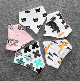 Wholesale Scarf Bibs - Ins Baby Bibs Baby Infant Burp Clothes Cotton Cartoon Printed Multicolor Saliva Towel Triangle Head Scarf Absorbent Adjustable Bib170225
