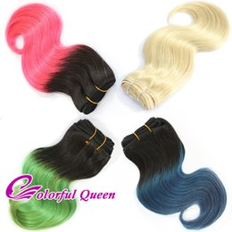 Wholesale Ombre Bundle Weave - Ombre Human Hair Bundles Body Wave Short Ombre Hot Pink Green Blue Human Hair Weaves 3pcs 613 Platinum Blonde Body Wave Human Hair 150g Lot