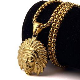 Wholesale Chief Pendant - Top Quality Gold Plated Indian Chief Pendant Long Necklace Men Fashion Hip Hop Gold Chain Necklaces Pendants HIPHOP Jewelry
