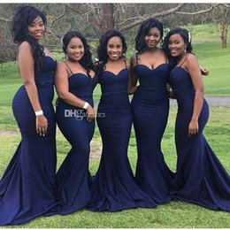 Wholesale Taffeta Junior Bridesmaid - Royal Blue Mermaid Bridesmaid Dresses Sweep Train Taffeta Spaghetti Strap Backless Wedding Evening Party Gowns 2017 Hot Selling New B70