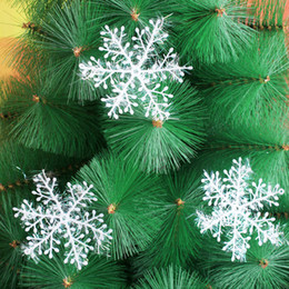Wholesale Plastic Blue Snowflake Ornament - White Christmas Snowflakes vivid plastics Tree Hanging Window showcase Festival Party New year Ornament Decorations For Home School