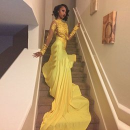 Wholesale Trumpet Cap Sleeve Formal Dresses - High Neck Yellow Evening Dresses 2017 With Long Sleeves Trumpet Empire Cap Sleeve Formal Prom Gowns fast shipping