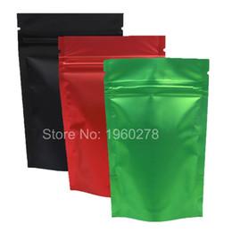 """Wholesale Metallic Zip - 100pcs 8.5x13cm (3.3x5.1"""") Recyclable Green  Red  Black Translucent Ziplock Storage Bags Metallic Mylar Zip Lock Stand Up Bag"""
